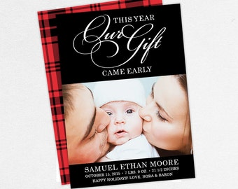 Christmas Birth Announcements, Our Gift Came Early This Year Christmas Cards, Baby Christmas Cards, Christmas Birth Announcements, Printable