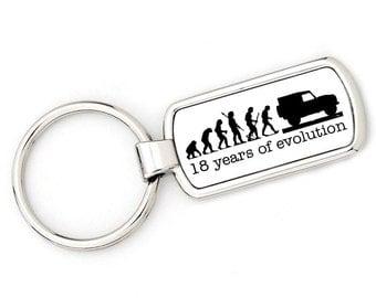 18th BIRTHDAY - DEFENDER Mans Evolution Keyring Ape to Land Rover Defender metal key ring gift present
