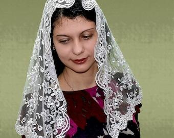 Traditional Catholic Infinity Mantilla,ivory Half Circle Church Veil,latin mass veil,Religious Head Coverings,ivory mantilla,lace mantilla