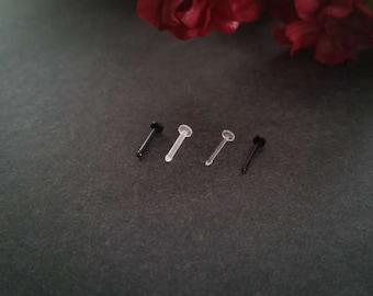 Bio Flex Nose Ring Retainer, 20 gauge Nose Bone, 18g Nose Stud, allergy free body jewelry, bioflex piercing, hypoallergenic,  #1000-29-31