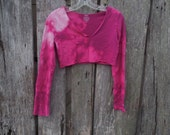 One of a kind bleached ultra short crop top cut up deep V neck magenta pink reverse tie dye upcycled size small street wear fashion urban