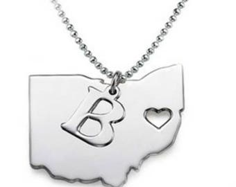 Sterling Silver, State Charm, Initial Necklace, Personalized Jewelry, Initial Charm, State Jewelry, Custom Jewelry, Heart Jewelry