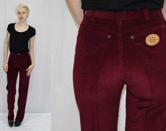 Vintage 80s Kenny Rogers WINE Corduroy HIGH Waist Slim Retro Pants Jeans 27x36
