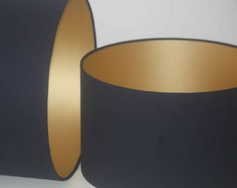 Gold lined handmade drum lampshade with choice of cotton coloured outer available in various sizes