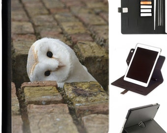 Owl peaking through wall Apple ipad 360 swivel i pad leather case cover with card slots