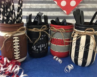 Ball Mason Jar, Set of 4, Silverware Caddy, Football, Choose Team Colors, Game Day Party, Man Cave Gift, Party Supplies, Super Bowl Party