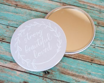 Strong Beautiful Loved Compact Mirror, Strong is Beautiful Accessories, You are Loved Pocket Mirror, Christian Gifts Under 10, 602039