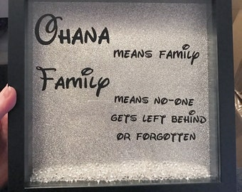 Lilo and Stitch Ohana means Family Disney Box Frame Quote Gift