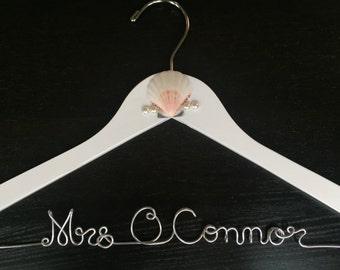 Beach wedding hanger, personalized name hanger, mrs hanger