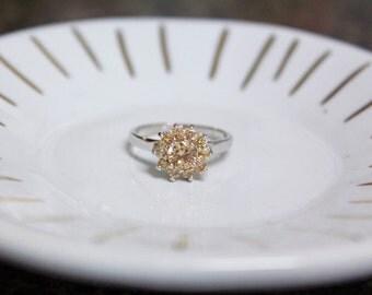 Vintage Morganite Ring With Swarvoski Crystals