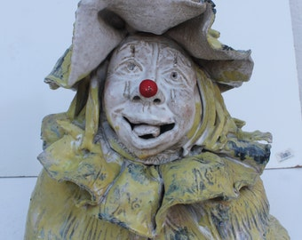 Art Handmade Studio Pottery Decorative Clown Sculpture.