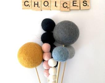 felt ball flower blooms - choose colour and size - billy buttons, bull rush, children's decor, shelfie, flatlay props, wedding