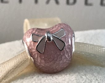 New Pandora Pink Bow and Lace Heart
