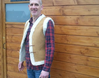 Vest leather cowhide doubled wool sheep