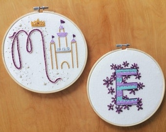 Child's Custom Initial Embroidery Hoop Gift