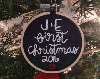 Ornament Hoop - Newlywed Ornament - First Christmas Ornament - Embroidery Hoop Ornament