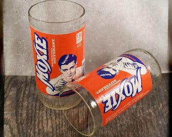Moxie Soda Bottle Drinking Glass Set of 2