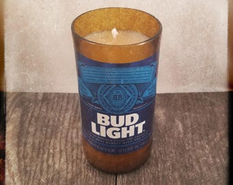 Bud Light Beer Bottle Candle, YOU Pick Scent! Hand cut, Hand Polished, Maine made