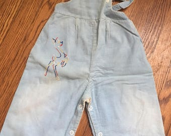 Vintage 1950s Blue Corduroy Romper with an Embroidered Deer 18 months by Stoneswear