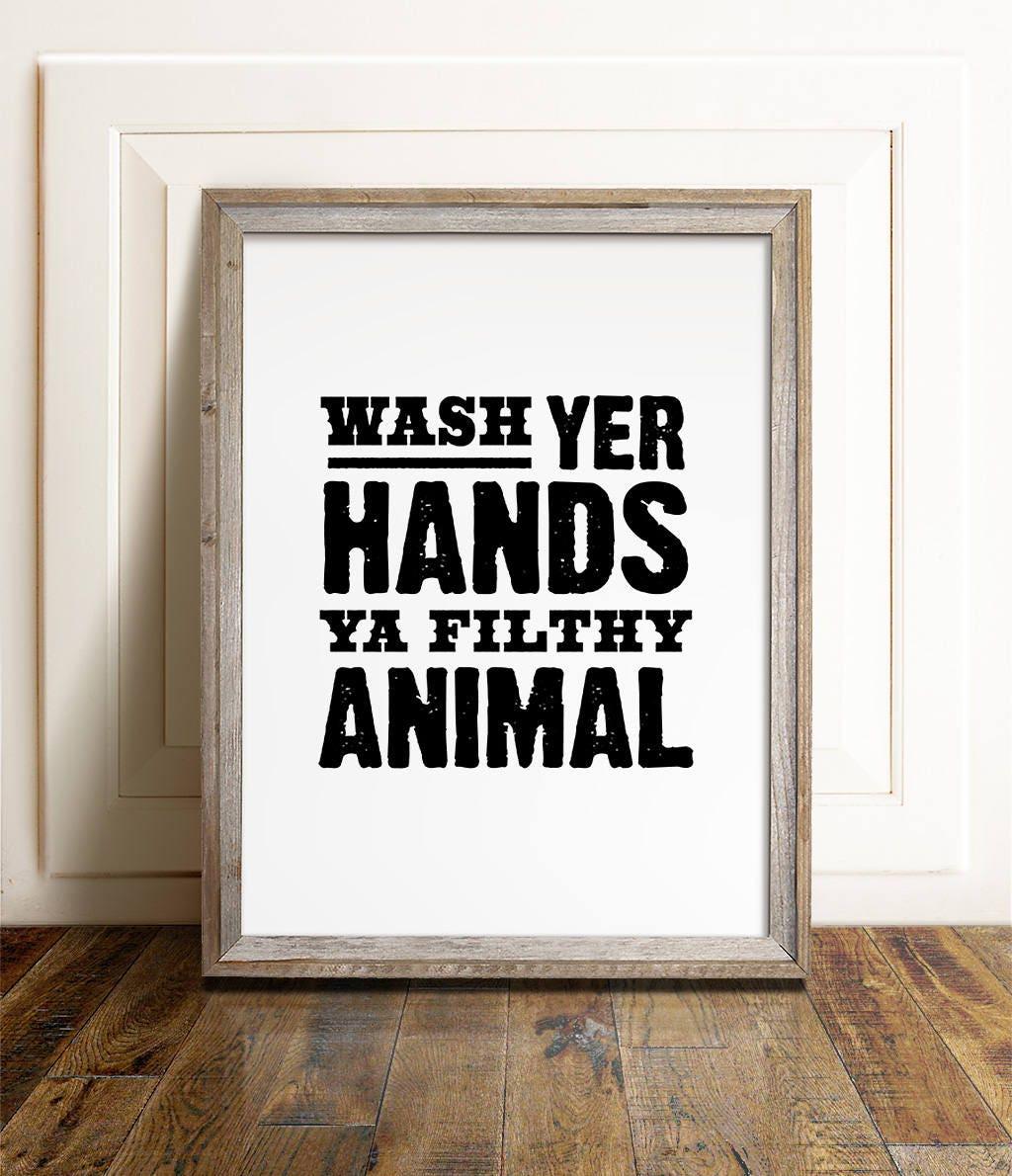 Bathroom wall decor wash your hands : Bathroom wall art printable wash hands sign your