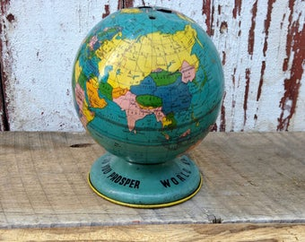 Globe Bank Ohio Art Co/World Globe/As You Save So You Prosper/Tin Lithograph
