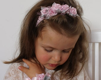 Light pink flower headband,Light pink silver girl headband,Light pink roses baby headband,wedding baby Headband,little girl headband