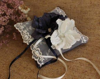 Ivory Navy Blue Flower ring pillow,Vintage Wedding Ring Pillow,cream Navy Blue flower ring Pillow,Satin ring pillow,wedding ceremony pillow