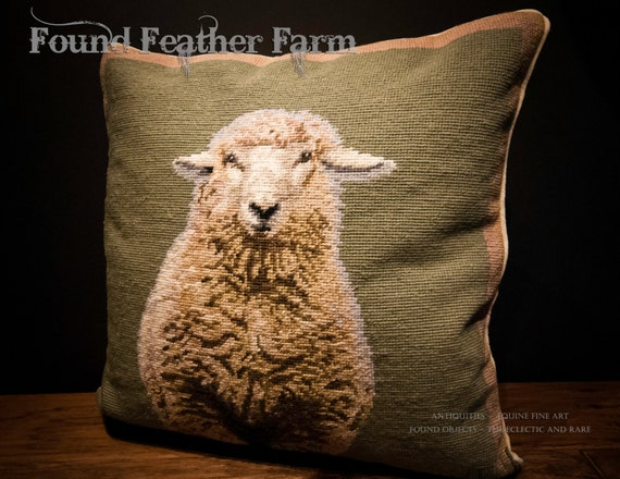 Handmade Wool Needlepoint Pillow of an English Sheep with Down Fill
