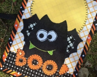 "Quilt Kit -""Boo Bat Mug Rug Kit"" -by Stitches of Love, Mug Rug   5.5"" x 7.5"" Laser Cut Fusible Mug Rug Kit, Fusible  Kit"