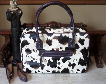 Spring Sale Multi Colored Cow Print Briefcase Laptop Ipad Carrier With Detachable Strap- EUC
