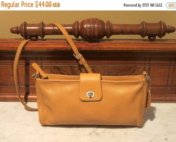 Football Days Sale Coach Camel Leather And Nickel Hardware Shoulder Bag With Cross Body Strap Style No 9818- VGC