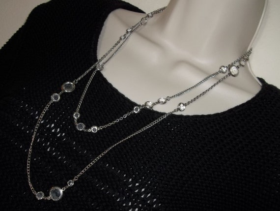 Vintage Silver Tone Clear Glass Double Strand Retro Sweater Necklace 26""