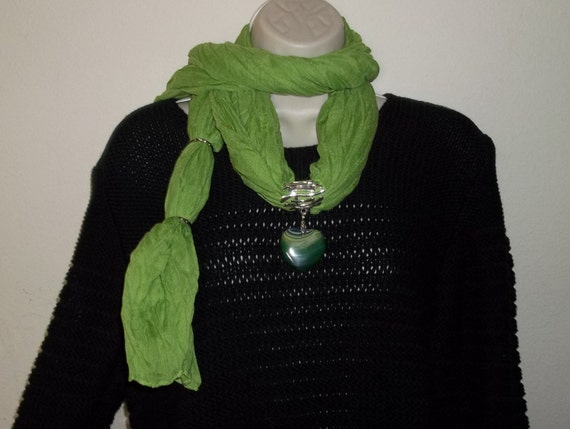 Shades of Green Striped Agate Heart Pendant Lime Green Cotton Blend Scarf Statement Necklace OOAK