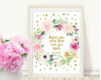 Before You Were Born, Nursery Bible Verse, Printable Art, Childrens Wall Art,  Inspirational Print,  Wall Decor, digital download