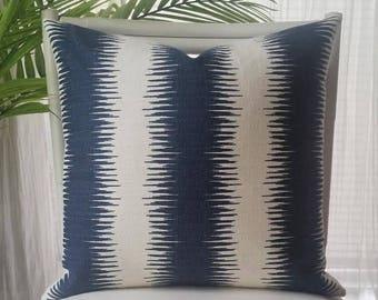 Jiri Stripe Navy Birch Pillow Cover - Ikat, Tribal, Global, Southwestern - navy, blue, white, cream