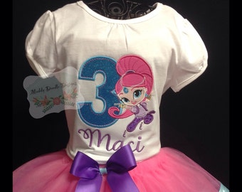 Shimmer & Shine Personlized Applique Birthday shirt ONLY