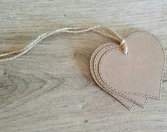 25 Stitched Heart Kraft Tags / Blank Tags / Gift Tags / Thank you Tags / Price Tags / Favor Tags / Drink Tags / Wedding Tags / Birthday Tags