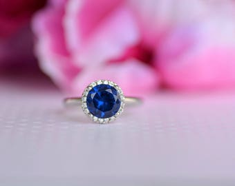 Sterling Silver Blue Sapphire Cz Ring. September Birthstone Ring. Blue Sapphire Cz 8mm Stone Ring. Solitaire Ring. Engagement Ring.