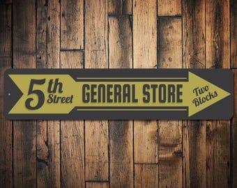 General Store Sign, Custom Store Arrow Sign, General Store Decor, General Store Gift, Store Directional Sign - Quality Aluminum ENS100028