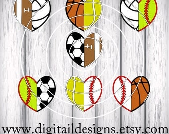 Sports Half Hearts SVG - png - dxf - eps - ai - fcm - Baseball Heart - Football Heart - Basketball Heart - Soccer Heart - Volleyball Heart