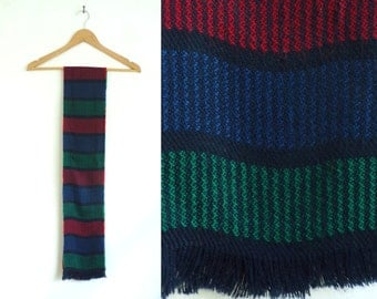 striped scarf, acrylic scarf, long scarf, oblong scarf, fall scarf, winter scarf, blue red green black, stripes