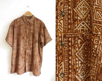 40%offJuly25-27 90s mens hawaiian shirt size xl, brown tribal southwestern shirt, 1990s mens button down shirt, short sleeve mens shirt