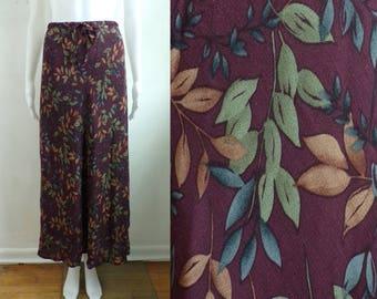"40%offJuly25-27 rayon floral skirt size large/xl, 32""-36"" waist, 90s ll bean purple lightweight crepe midi boho maxi skirt foliage nature"