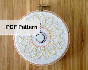 Floral Series - Sunflower Embroidery Pattern PDF