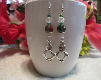 Penguin Charm Red And Green Glass Bead Earrings