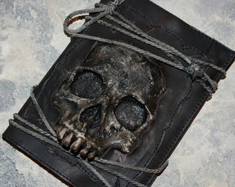 Notebook Zombie Notebook cover Journal leather Movie Props Horror decor Skull Cover Journal cover Real Skull Notebook Grimoire Horror Cover