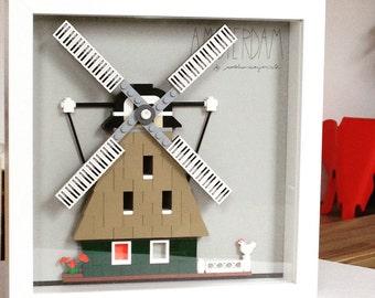 windmill, Holland, Amsterdam, LEGO® art, LEGO® design, minifigure, original design, Holland art, souvenir, kids room, LEGO® gift