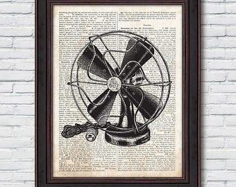 Electric Fan Dictionary, Electric Fan Print, Electric Fan Art, Dictionary Print, Country Chic Decor - DI014