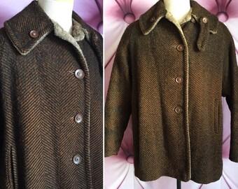 Vintage 70s 1970s reversible wool and faux fur coat brown rust black
