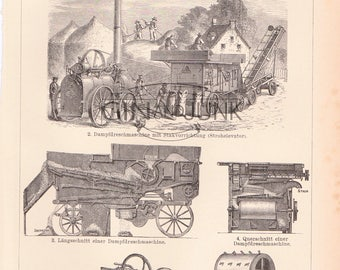 Antique Industrial Print - Threshing Machine - Farming, agriculture print from 1890.